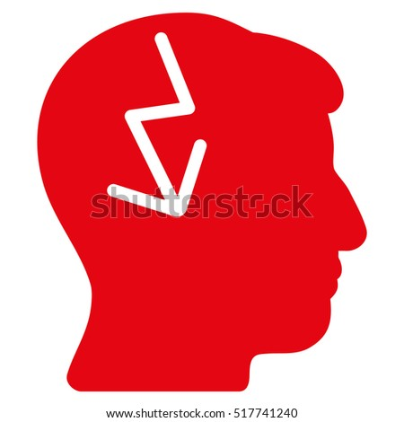 Brain Electric Strike glyph pictograph. Style is flat graphic symbol, red color, white background.