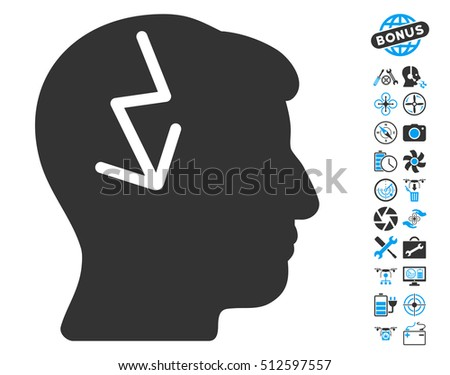 Brain Electric Strike icon with bonus uav tools design elements. Glyph illustration style is flat iconic blue and gray symbols on white background.
