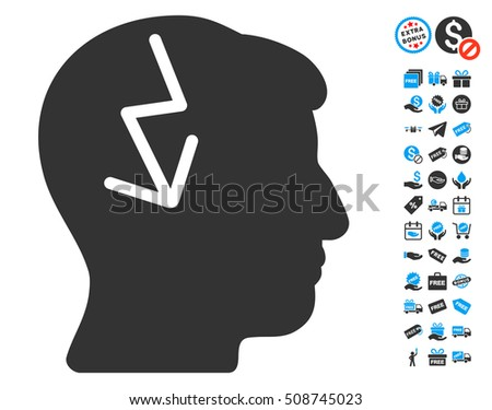 Brain Electric Strike icon with free bonus symbols. Glyph illustration style is flat iconic symbols, blue and gray colors, white background.
