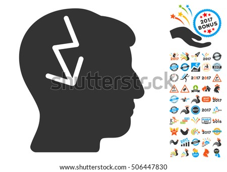 Brain Electric Strike pictograph with bonus 2017 new year pictures. Glyph illustration style is flat iconic symbols,modern colors, rounded edges.