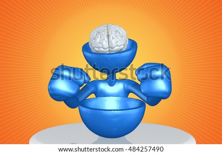 Brain Exposed Character With Half Of His Head Missing 3D Illustration