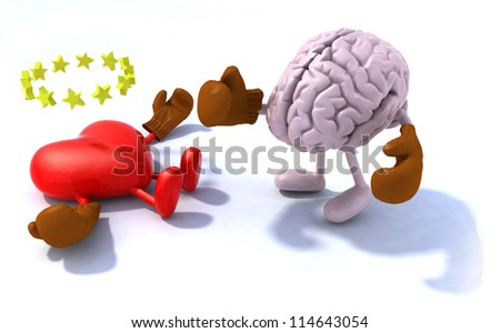 Brain fighting heart, 3d cartoon with boxing gloves - stock photo