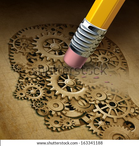 Brain function loss mental health concept as a symbol of dementia disease and a losing intelligence as alzheimer's for neurology problems with a pencil erasing a human head made of gears and cogs. - stock photo