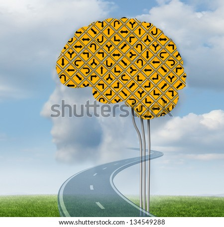 Brain functioning with a group of confusing yellow road signs in the shape of a human brain on a summer sky with clouds shaped as a head as a mental health concept. - stock photo