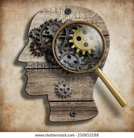 Brain gears and cogs. Mental illness, psychology, invention and idea concept. - stock photo