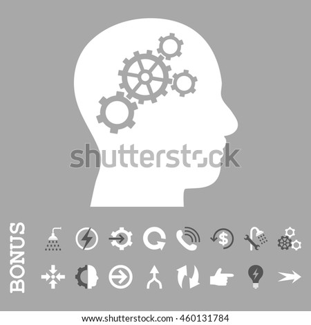 Brain Gears glyph bicolor icon. Image style is a flat iconic symbol, dark gray and white colors, silver background.