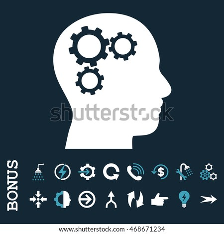 Brain Gears glyph bicolor icon. Image style is a flat pictogram symbol, blue and white colors, dark blue background.