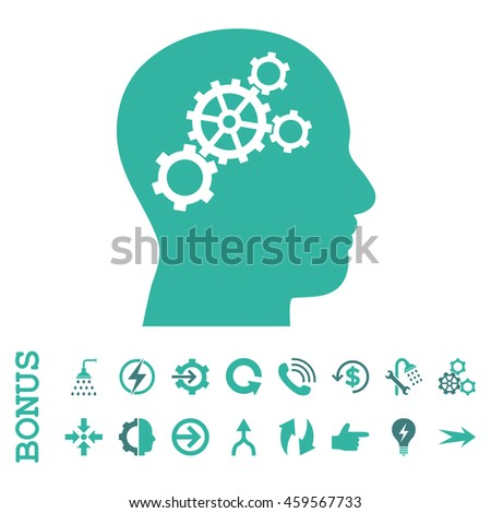 Brain Gears glyph bicolor icon. Image style is a flat pictogram symbol, cobalt and cyan colors, white background.