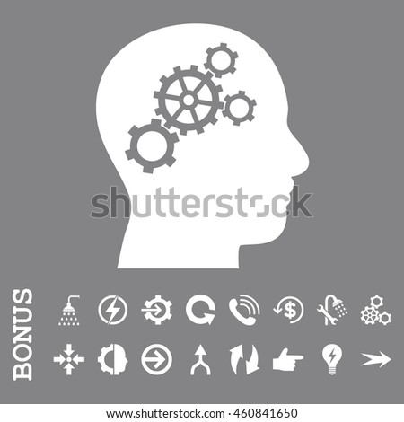 Brain Gears glyph icon. Image style is a flat iconic symbol, white color, gray background.