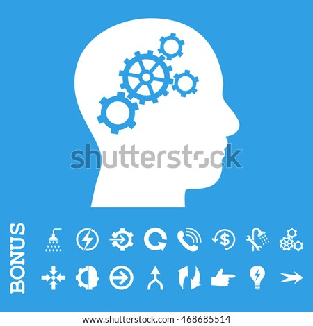 Brain Gears glyph icon. Image style is a flat pictogram symbol, white color, blue background.