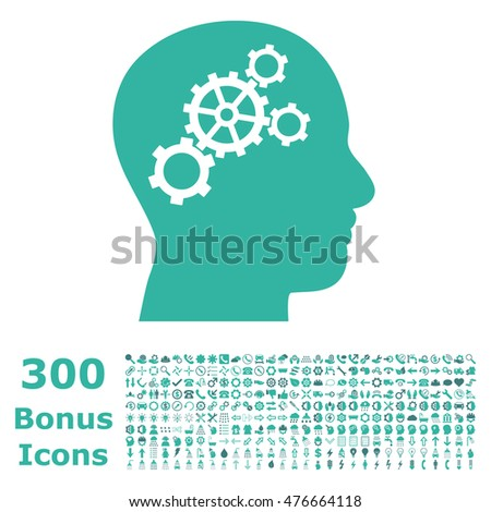 Brain Gears icon with 300 bonus icons. Glyph illustration style is flat iconic bicolor symbols, cobalt and cyan colors, white background.