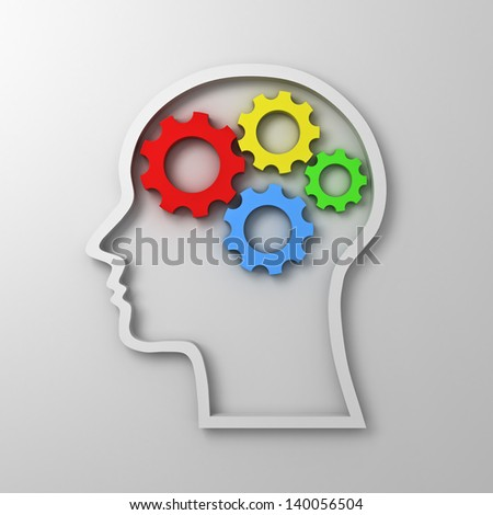 Brain gears in head shape on white background , intelligence concept - stock photo