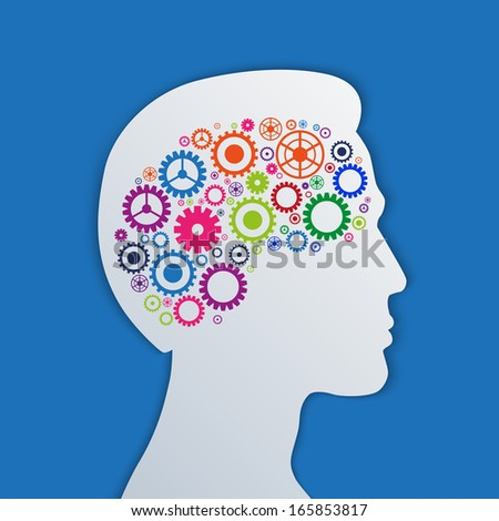 Brain gears in the head, human thinking concept illustration