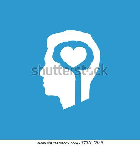 brain heart icon, on blue background - stock photo