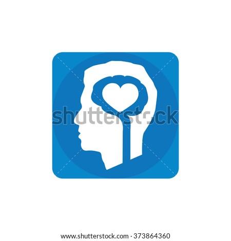 brain heart icon, on white background - stock photo