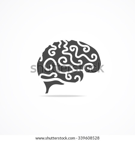 Brain Icon Isolated On Background. Mind and Science. illustration - stock photo