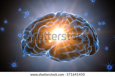 Brain impulses. Neuron system. Human anatomy. transferring pulses and generating information. - stock photo