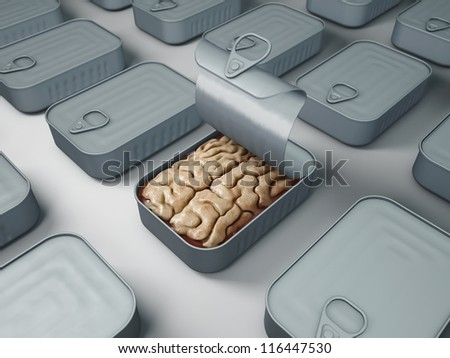 brain in a can - stock photo