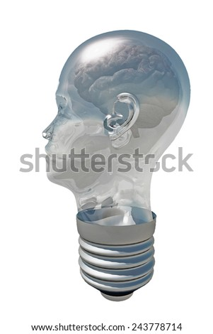 Brain inside Human Head Light Bulb - stock photo