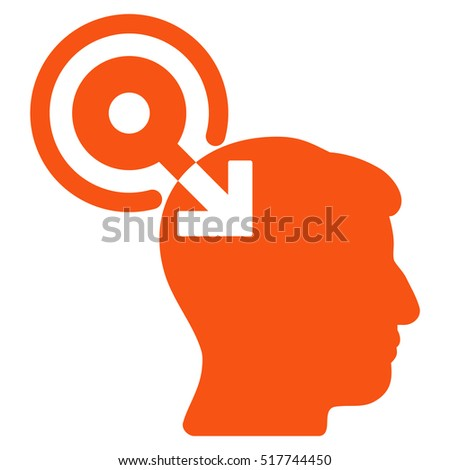 Brain Interface Plug-In glyph pictogram. Style is flat graphic symbol, orange color, white background.