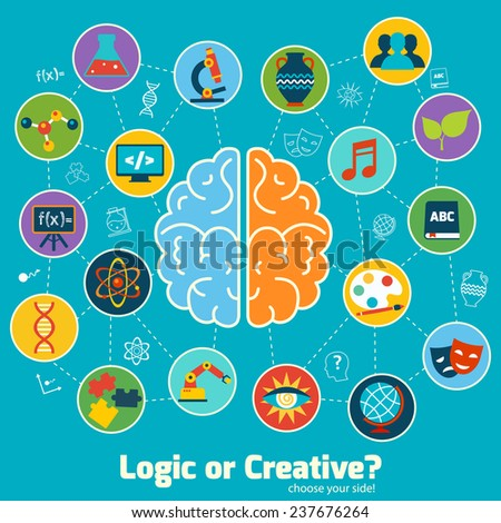 Brain left logic and right creative hemispheres concept with science icons set  illustration - stock photo