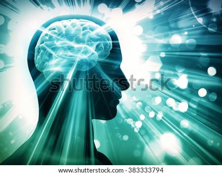 brain, lights, concept - stock photo