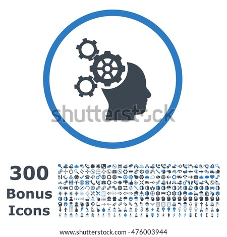 Brain Mechanics rounded icon with 300 bonus icons. Glyph illustration style is flat iconic bicolor symbols, smooth blue colors, white background.