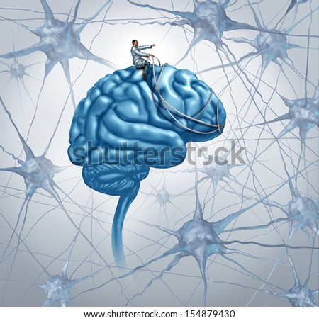 Brain medical research concept with a science doctor on a brain steering with a harness the direction through a maze of neurons as an icon of finding a cure for autism and alzheimers disease. - stock photo