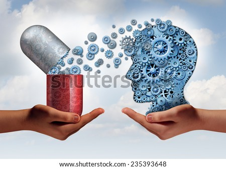 Brain medicine mental health care concept as hands holding an open pill capsule releasing gears to a head of cogs as a symbol for pharmaceutical science and the treatment of psychological illness. - stock photo