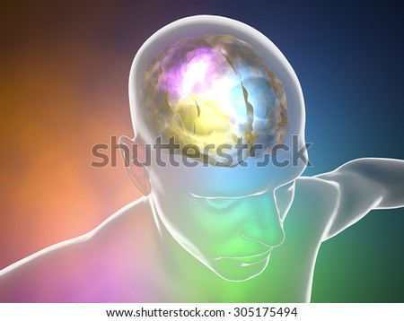 Brain neurons synapse, anatomy body, head profile, disease - stock photo