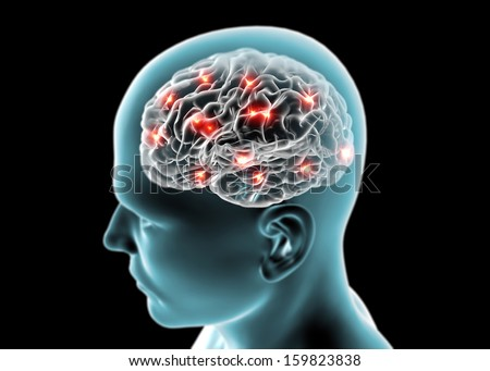 Brain neurons, synapses, reasoning - stock photo