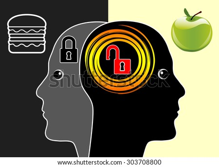 Brain or Junk Food. Fast Food slows down brain activities according to scientific studies, while healthy diet activates brain cells - stock photo