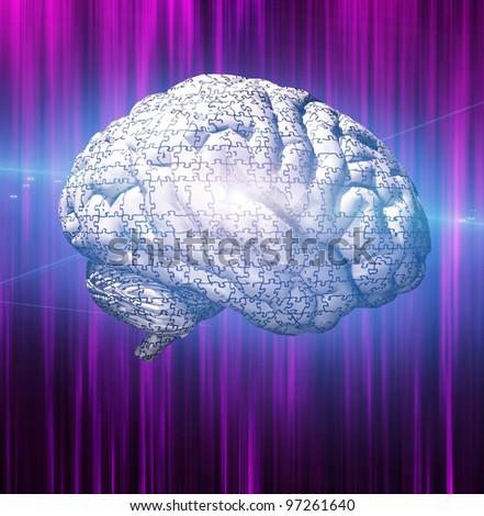 Brain Puzzle - stock photo