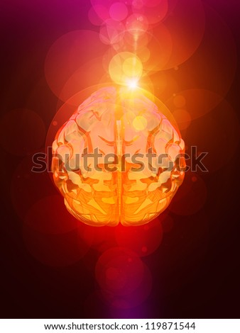 brain & red bokeh abstract light background - stock photo