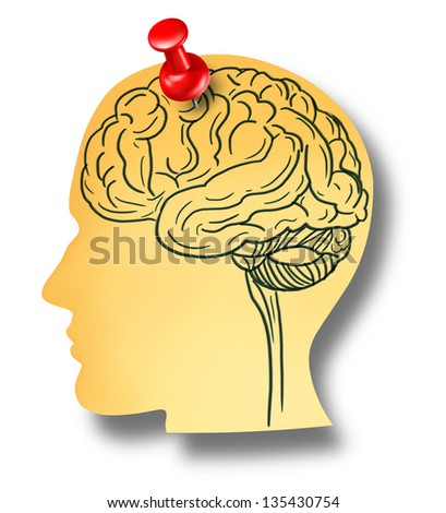 Brain reminder and memory loss concept from Dementia and Alzheimer's disease with the medical icon of an office note with a drawing as a shape of a human head pinned to a wall with a red thumb tack. - stock photo