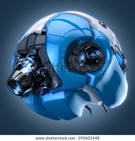 brain robot concept - stock photo