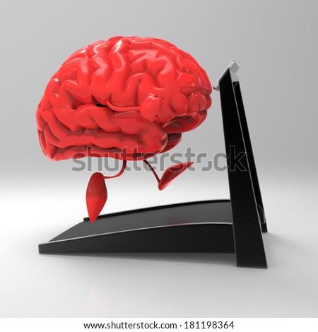 Brain running - stock photo