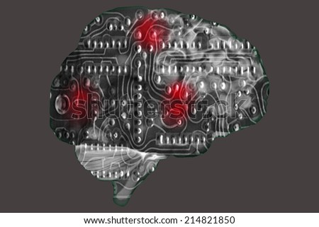 Brain shaped circuit board - stock photo