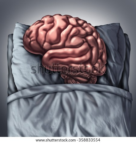 Brain sleep health care and medical concept for benefits of resting the thinking organ by sleeping on a pillow in bed as a cognitive and neurological metaphor for meditation and deep thought therapy. - stock photo