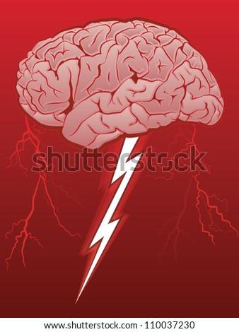 Brain Storm/Human Brain with Lighting Bolt - stock photo