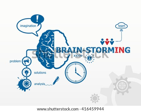 Brain-storming concept and brain. Hand writing Brain-storming with blue marker raster version - stock photo