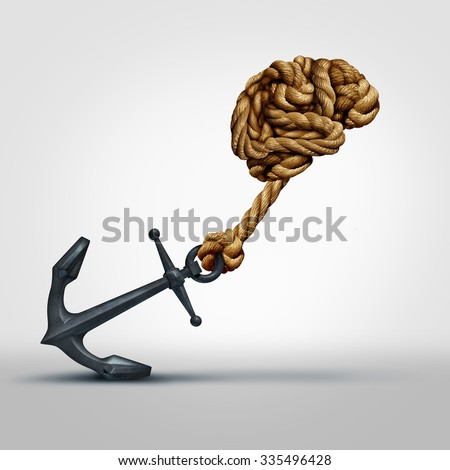 Brain strength concept as a group of ropes shaped as human thinking organ pulling a heavy anchor as a symbol for cognitive function and exercises to strengthen a mind through education and learning. - stock photo