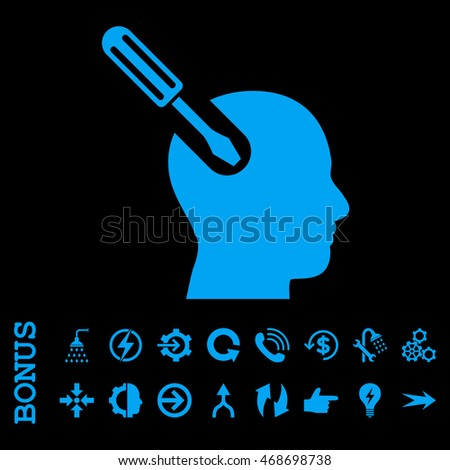 Brain Tool glyph icon. Image style is a flat pictogram symbol, blue color, black background.