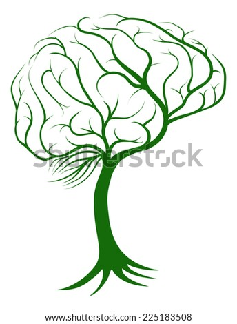 Brain tree concept of a tree with roots growing in the shape of a brain - stock photo