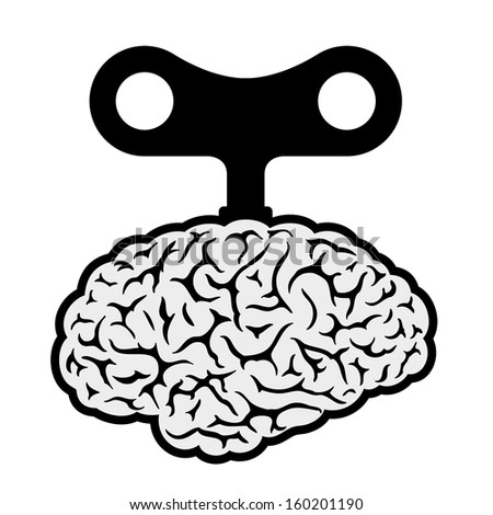 Brain with a wind-up key depicting control, automation, robotic and mechanical showing a lack of freedom and choice - stock photo