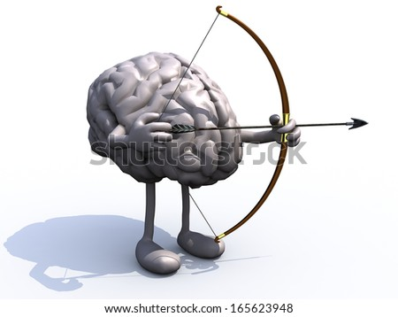 brain with arms, legs, bow and arrow, 3d illiustration - stock photo