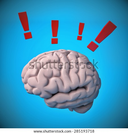 Brain with exclamation mark. Concept - stock photo