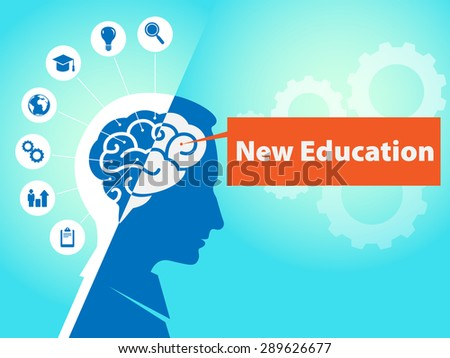 Brain with icons and business symbols and text new education. 2d flat design business, technology, internet, concept.