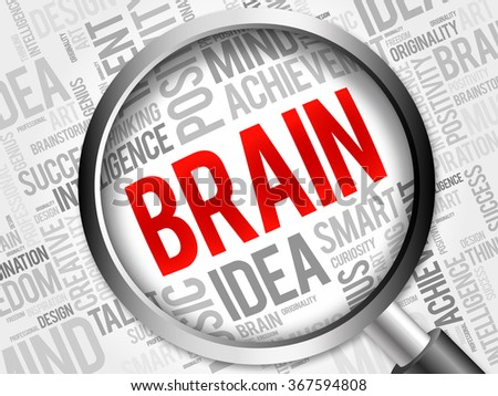 BRAIN word cloud with magnifying glass, background concept - stock photo