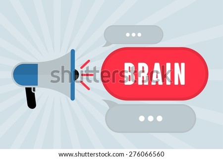 BRAIN word out of megaphone with grey background - stock photo